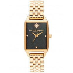 Olivia Burton Celestial Rectangle Black Mother Of Pearl Dial Gold Bracelet Watch OB16GD60