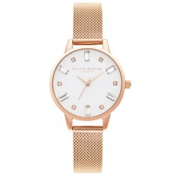 Olivia Burton Bejewelled Rose Gold Mesh Bracelet Watch OB16BJ02