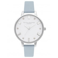 Olivia Burton Bejewelled Silver and Chalk Blue Strap Watch OB16BJ01