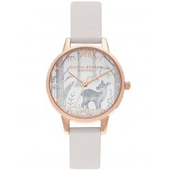 Olivia Burton Snow Globe Rose Gold and Blush Strap Watch OB16SG11