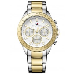 Tommy Hilfiger Hudson White Chronograph Dial Two Tone Bracelet Watch 1791226
