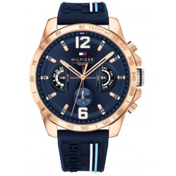 Tommy Hilfiger Decker Rose Gold Plated Chronograph Dial Navy Rubber Strap Watch 1791474