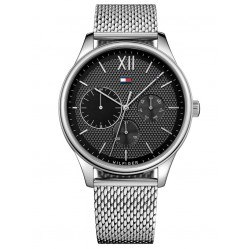 Tommy Hilfiger Damon Black Chronograph Dial Stainless Steel Mesh Strap Watch 1791415