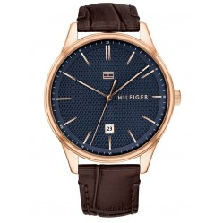 Tommy Hilfiger Damon Rose Gold Plated Blue Dial Dark Brown Leather Strap Watch 1791493