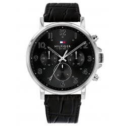 Tommy Hilfiger Daniel Black Chronograph Dial Leather Strap Watch 1710381
