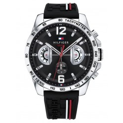 Tommy Hilfiger Decker Stainless Steel Chronograph Dial Black Rubber Strap Watch 1791473