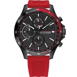 Tommy Hilfiger Bank Stainless Steel Black Day Date Dial Red Rubber Strap Watch 1791722