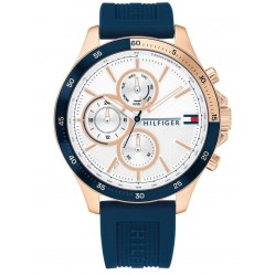 Tommy Hilfiger Bank Rose Gold Plated White Date Dial Blue Rubber Strap Watch 1791778