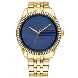 Tommy Hilfiger Lee Gold Plated Plain Blue Dial Bracelet Watch 1782081