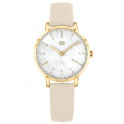 Tommy Hilfiger Lily Gold Plated Mother Of Pearl Dial Beige Leather Strap Watch 1782038