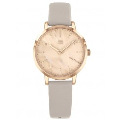 Tommy Hilfiger Lily Rose Gold Plated Mother Of Pearl Dial Grey Leather Strap Watch 1782039