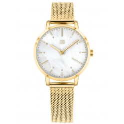 Tommy Hilfiger Lily Gold Plated Mother Of Pearl Dial Mesh Strap Watch 1782043