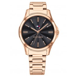Tommy Hilfiger Lori Rose Gold Plated Black Dial Bracelet Watch 1781951