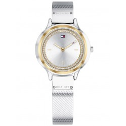 Tommy Hilfiger Olivia Stainless Steel Two Tone Cubic Zirconia Set Silver Dial Bangle Watch 1781912