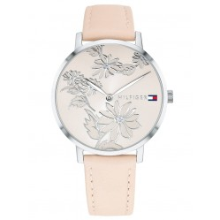 Tommy Hilfiger Pippa Stainless Steel Floral Dial Pink Leather Strap Watch 1781919