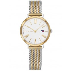 Tommy Hilfiger Project Z Stainless Steel Two Tone White Dial Mesh Strap Watch 1782055