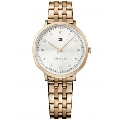 Tommy Hilfiger Ultra Slim Rose Gold Plated Silver Dial Bracelet Watch 1781760