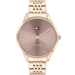 Tommy Hilfiger Gray Brown Dial Crystal Set Bezel Rose Gold Plated Bracelet Watch 1782212