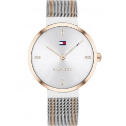 Tommy Hilfiger Liberty Stainless Steel Silver Crystal Set Dial Two Tone Mesh Strap Watch 1782221