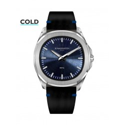 KAMAWATCH Royal Blue Dial Leather Suede Strap Watch KWPM36