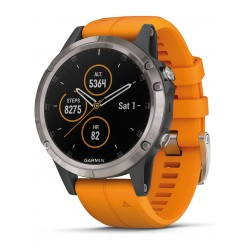 Garmin Fenix 5 Plus Titanium Solar Flare Orange Rubber Strap Smartwatch 010-01988-05