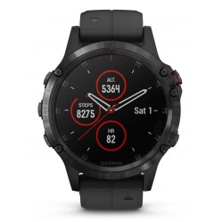 Garmin Fenix 5 Plus Black Stainless Steel Black Rubber Strap Smartwatch 010-01988-01