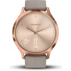 Garmin Vivomove HR Rose Gold Plated Grey Suede Strap Smartwatch 010-01850-09