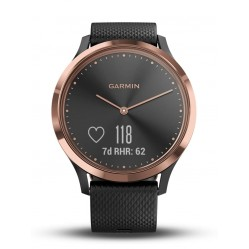 Garmin Vivomove HR Rose Gold Plated Black Rubber Strap Smartwatch 010-01850-06