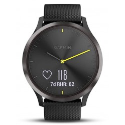 Garmin Vivomove HR Black Stainless Steel Black Rubber Strap Smartwatch 010-01850-01