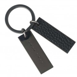 BOSS Basis Black Leather Keyring HAK609