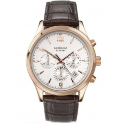 Sekonda Rose Gold Plated Brown Strap Watch 3488