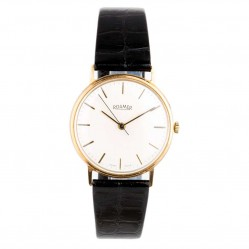 Pre-Owned Roamer 9ct Yellow Gold Black Leather Strap Watch 4410032