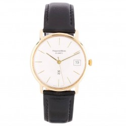 Pre-Owned Mappin and Webb 9ct Yellow Gold Black Leather Strap Watch 4410039