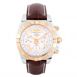 Pre-Owned Breitling Chronomat 41 Brown Leather Strap Watch CB014012-A748 237X