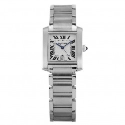 Pre-Owned Cartier Tank Francaise Silver Bracelet Watch 2682(BQ35909)