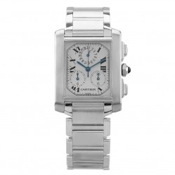 Pre-Owned Cartier Tank Francaise Chronoflex Silver Rectangular Bracelet Watch 2303