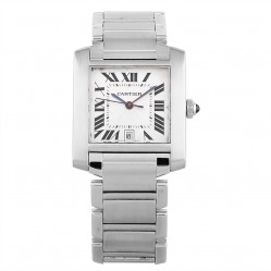 Pre-Owned Cartier Midi Tank Francaise Silver Bracelet Watch 2302