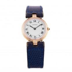 Pre-Owned Cartier Santos Vendome 18ct Gold Blue Strap Watch W1001754