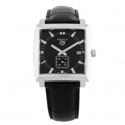 Pre-Owned TAG Heuer Monaco Quartz Black Leather Strap Watch WAW131A.FC6177