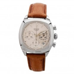 Pre-Owned TAG Heuer Monza Chronograph Brown Leather Strap Watch CR2111