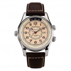Pre-Owned Hamilton Khaki Skymaster UTC Brown Leather Strap Watch H77525553