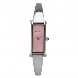 Pre-Owned Gucci Pink Rectangular Bangle Watch 1500L