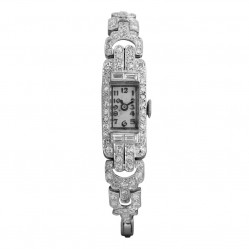 Pre-Owned 1.00ct Diamond Art Deco Expandable Bracelet Watch F4998789432)