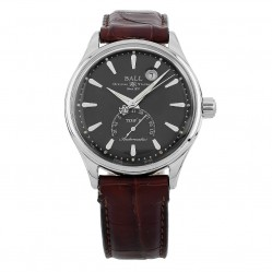 Pre-Owned Ball Limited Edition Trainmaster Kelvin Fahrenheit Brown Leather Strap Watch NT3888D-LL1J-GYF