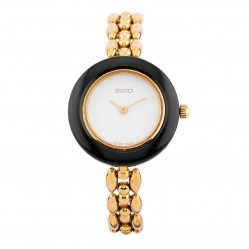 Pre-Owned Gucci Gold Plated Bracelet Watch with 11 Interchangeable Bezels 11/12.2
