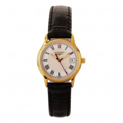 Pre-Owned Longines Gold Plated Black Leather Strap Watch D600630(458)