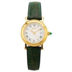 Pre-Owned Gucci Gold Plated Green Leather Strap Watch 7200L (Q600413)
