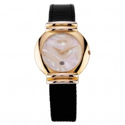 Pre-Owned Gucci Gold Plated Black Leather Strap Watch D604085(446)