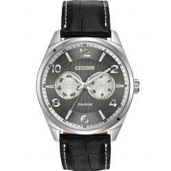 Citizen Mens Corso Day-Date Black Leather Strap Watch AO9020-17H