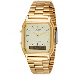 Casio Mens Gold Plated Bracelet Square Dial Duo Display Watch AQ-230GA-9DMQYES